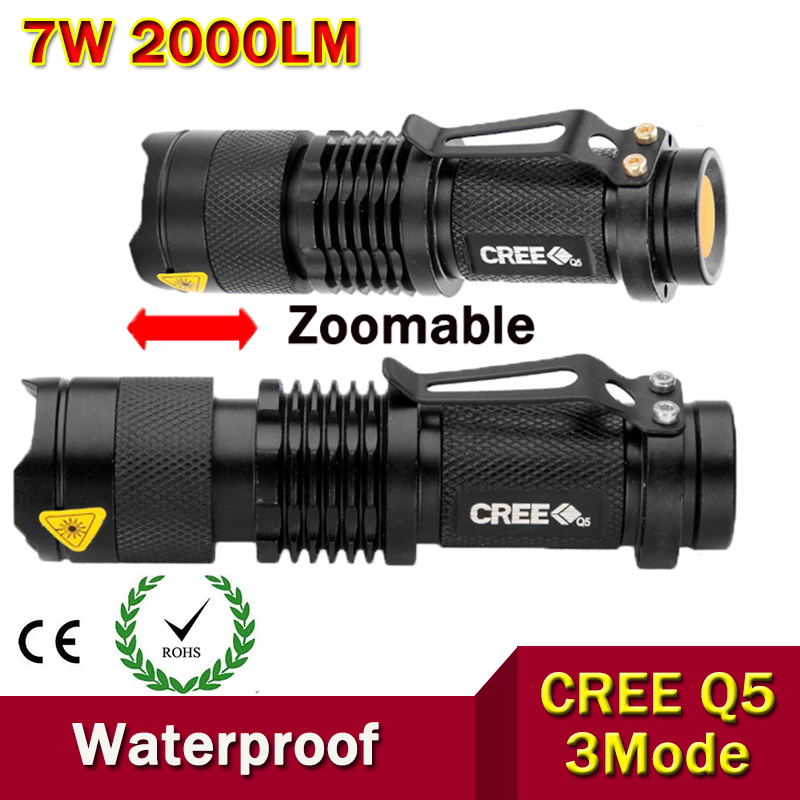 High-quality Mini LED Flashlight Zoom Black CREE 2000LM Waterproof LED Laterna 3 Modes Zoomable LED Torch penlight AA 14500(China (Mainland))