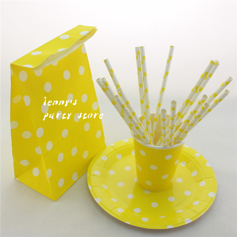 Free Shipping 246pcs Yellow Polka Dot Paper Bags,Paper cups,Paper Plates and Paper Drinking Straws for Party(China (Mainland))