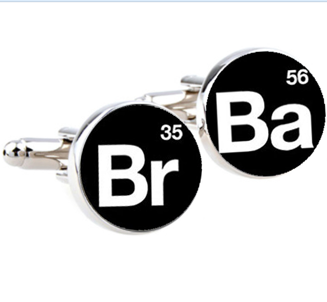 1Pair Breaking Bad cufflinks Silver plated Br Ba cuff links Accessories quote jewelry unique Wedding gifts for men black white(China (Mainland))