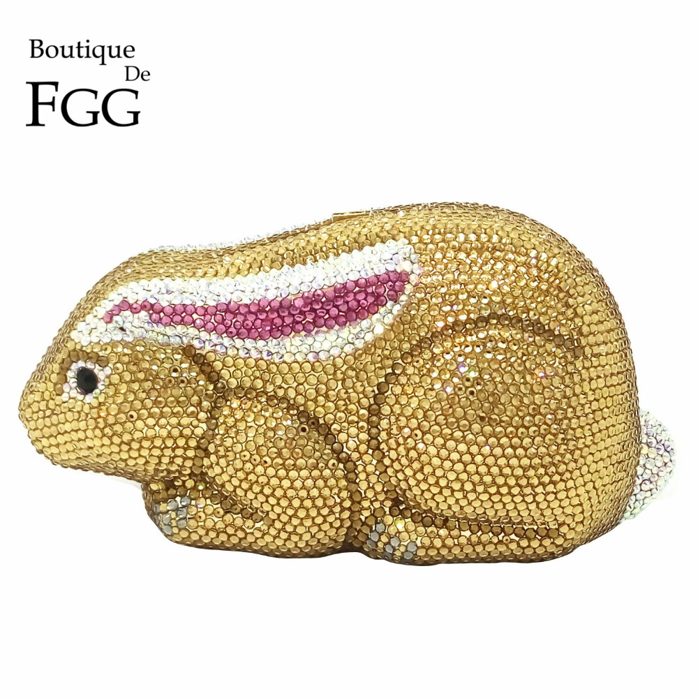 Dazzling Women Rabbit Mini Golden Crystal Clutch Evening Bags Bridal Wedding Party Prom Handbags Metal Box Clutches Shoulder Bag(China (Mainland))