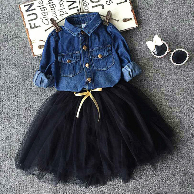 Мода девушки денима блузка, Свободного покроя + юбки для девочек свободного покроя ...