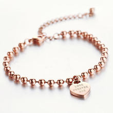 New arrival woman titanium 14K rose gold plated bracelet with heart charm, girl's lovely bead bracelet(China (Mainland))