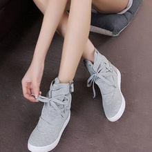 Hot new couple autumn female students balance spring strap boots fashion casual canvas shoes flat shoes