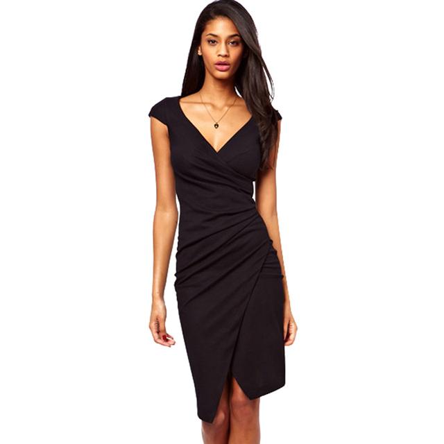 Элегантный колена длина кап-рукавом женская сексуальная V шеи Bodycon клуб носить обернуть карандаш платье свободного покроя оболочка платье с глубоким вырезом G728