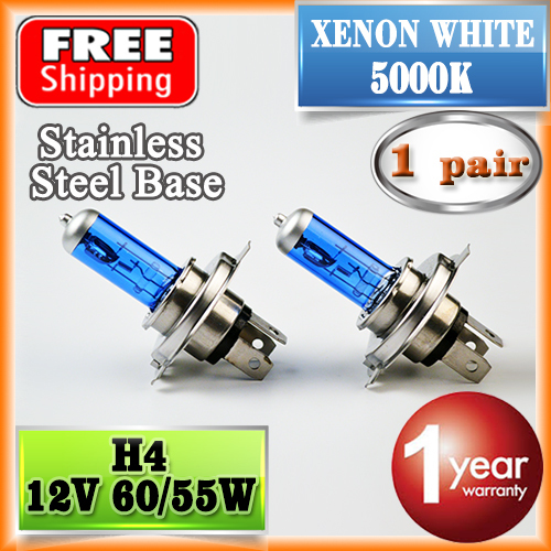 1 Pair 12V 60/55W H4 Halogen Lamp 5000K HeadLight Bulb Xenon Dark Blue Glass Auto Headlight Super White FREE SHIPPING(China (Mainland))