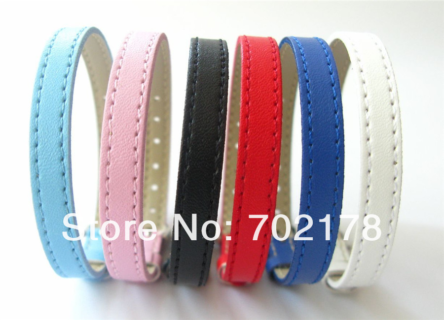 free shipping 10pcs 8mm Mixed color Copy Leather Wristband 21cm length /8mm wide fit 8mm slide letter charms(China (Mainland))
