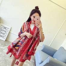 2017 Newest Design Oil Printing Winter Scarf Women Shawls Thicken Warm Scarves Silk Brand Oversize Scarf Woman Wrap 110CM*190CM(China (Mainland))