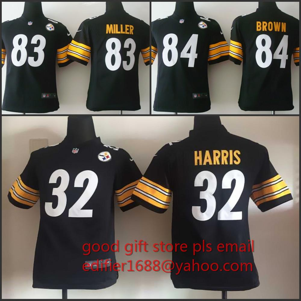 100% gestikt jeugd Pittsburgh Steelers kinderen 32 Franco Harris 83 Heath Miller 84 Antonio Bruin Borduren Logo maat S om XL(China (Mainland))