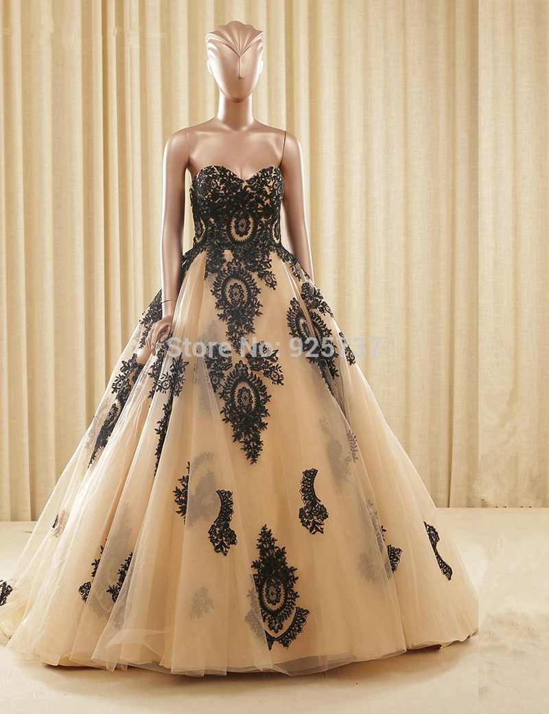 Popular black and gold ball gown buy cheap black and gold for Gold vintage wedding dresses