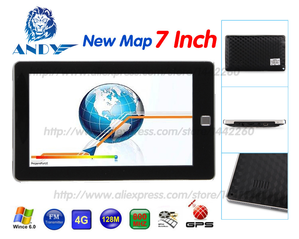 New 7 inch HD Car GPS Navigation FM 4GB/128M DDR/800MHZ New Map Free Upgrade Russia/Belarus/Spain/ Europe/USA+Canada/Israel(China (Mainland))