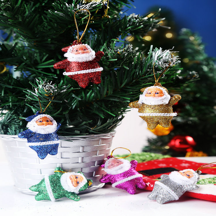 New Year 2015 Christmas Tree 6pcs/lot Bling Colorful Cute Santa Clause Strap Trees Christmas Decoration Winter Natal Decorations(China (Mainland))