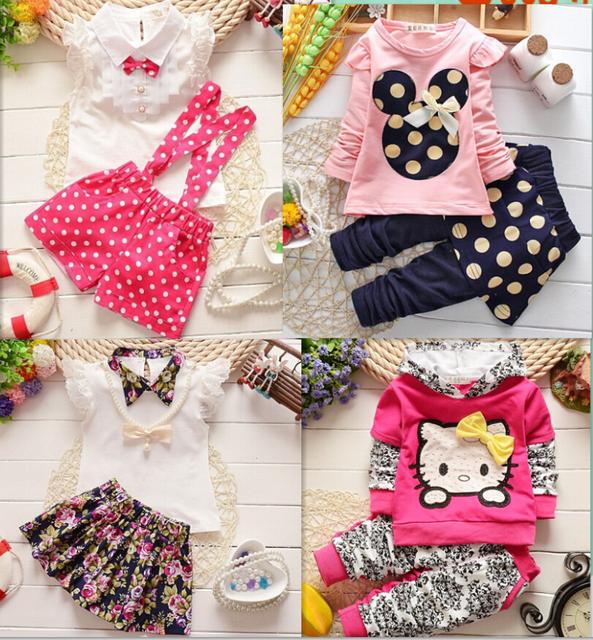2015 мода весна осень-летние новорожденных девочек комплект одежды детей толстовки ...