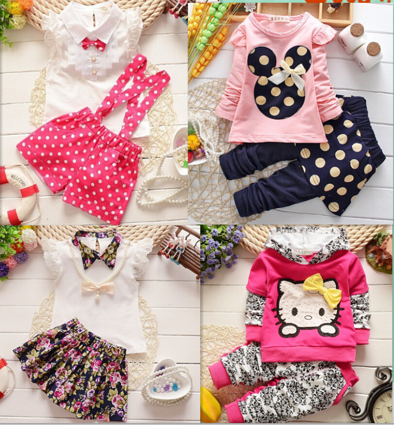 2015 fashion Spring Autumn summer baby girls clothing set children hoodies+pants 2 pcs kids family clothes sport suit set(China (Mainland))