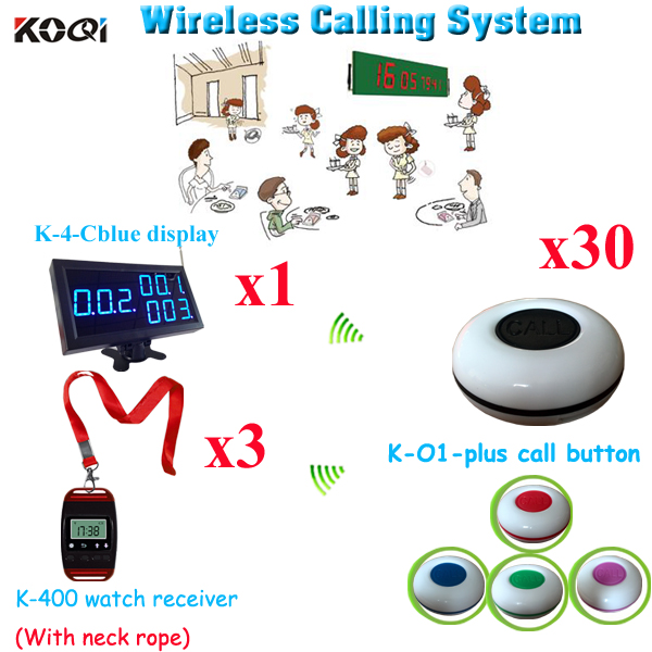Wireless Paging Calling System For Restaurant Room Calling Customer Service(1pcs display+ 3pcs watch+30pcs call button)(China (Mainland))