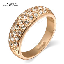 CZ Diamond Micro Pave Engagement Rings Wholesale 18K Rose Gold Plated Crystal Fashion Wedding Jewelry For
