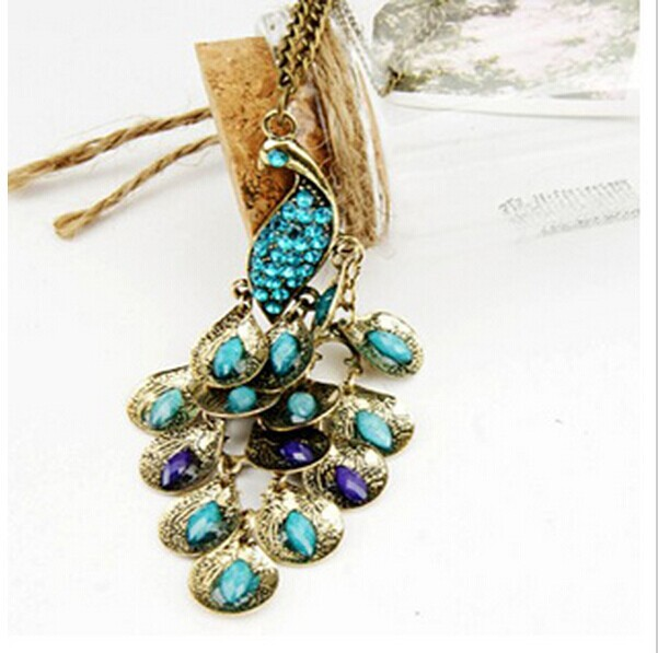 ND177 European and American trade jewelry imitation jewels retro peacock sweater chain necklace Free Shipping(China (Mainland))