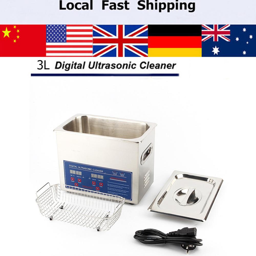 3L Digital Ultrasonic Cleaner Bath Tank w Timer Cleaning Machine
