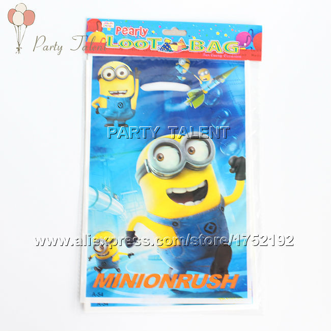Party supplies 10PCS children kids Minions theme party, party decoration PVC gift bag candy bag cartoon pattern(China (Mainland))