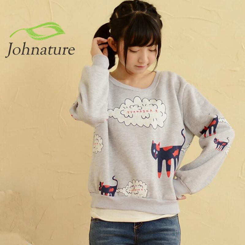 Johnature 2016 Autumn Women New Hoodies Sweatshirts Cotton Cartoon Print Long Sleeve Small Fresh Japanese Mori Girl Hot Sale(China (Mainland))