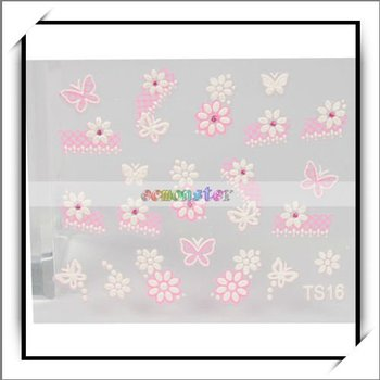 Free Shipping,Flower Butterfly Pattern 3D Design Nail Art Sticker Lace Decal Set,100% manufacturer compatible,10pcs/lot-10004137
