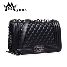 2016 Quilted Plaid Women Messenger Bag Chains Mini Black Crossbody Bags For Women Famous Brand Leather Small Sac A Main Femme(China (Mainland))