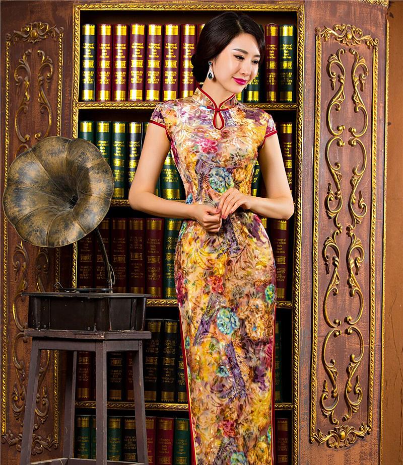 Noble Women's Velour Long Cheongsam Hot Sale Traditional China Lady Qipao Elegant Slim Dress Flower Size S M L XL XXL 342543