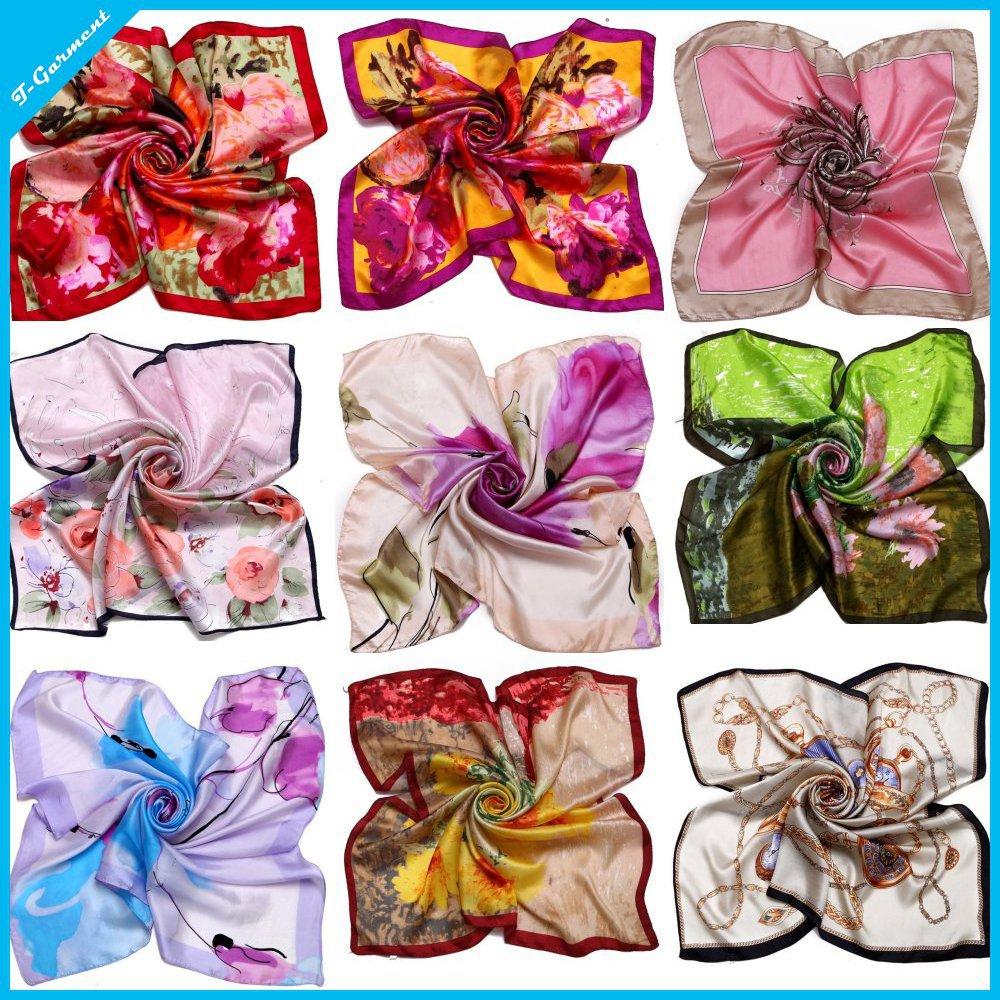 2015 Free shipping Square 100% real silk Bandana Women Neckerchief Summer Style Thin Design 90 * 90 cm Soft Scarf shawl ZS63(China (Mainland))