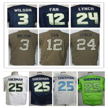 Shop Discount SexeMara Cheap men's jersey,Elite 3 Wilson 12 Fan 16 Lockett 31 Chancellor 34 Rawls 25 Sherman 88 Graham 89 Baldwi(China (Mainland))