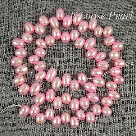 Perfect Pearl Jewelry Wheat Freshwater Pearls Rice Shape Teardrops Top Drilled Babi Pink Loose Beads 6x8mm 68pcs Full Strand(China (Mainland))