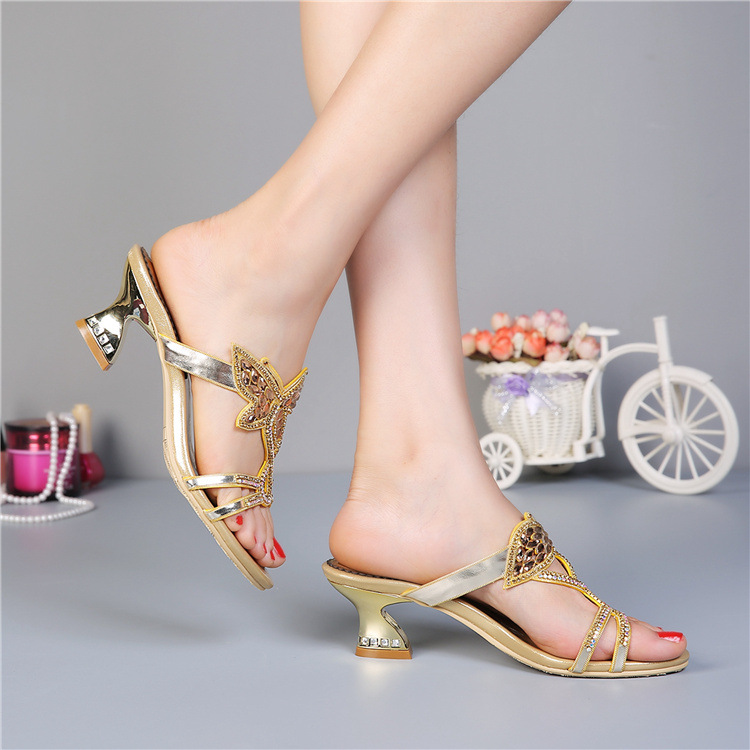 High Heels Sandals Women Genuine Leather Summer 2015 New Female Slippers Butterfly European Sandals Fashion Calzado Mujer