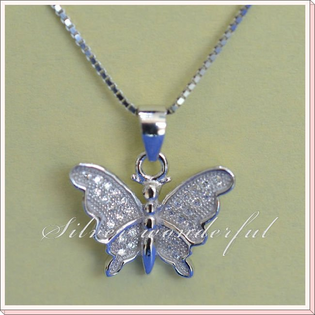 Lovely Butterfly Shaped Real 925 Sterling Silver Necklace Jewelry,Free Shipping Newest Fully Jewelled Silver Jewellery CP230(China (Mainland))