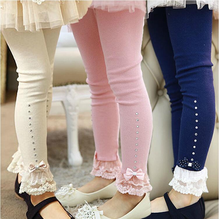 2015 New Baby Girls Leggings Children Cotton Girls Pants Bow Lace Girl Toddler Leggings 2-8Y Kids Leggings for Girls(China (Mainland))