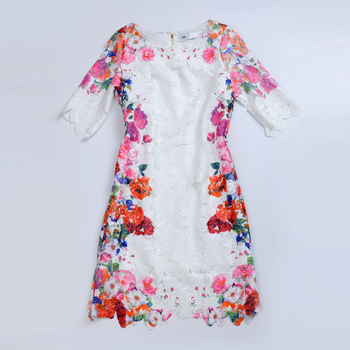 2013 women's rustic fresh print lace slim one-piece dress