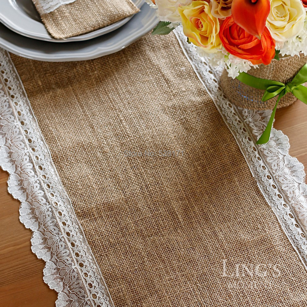 "2 pieces 14 x 108""Free shipping,New Fashion Natural Burlap Hessian Table Runner Vintage Rustic Wedding Party Decoration(China (Mainland))"