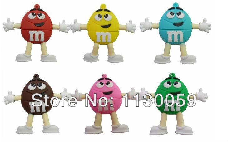 Гаджет  Six color smile lover Personalized 4GB 8GB 16GB 32GB usb flash drive m&m chocolate beans chromophous card reader,free shipping None Компьютер & сеть