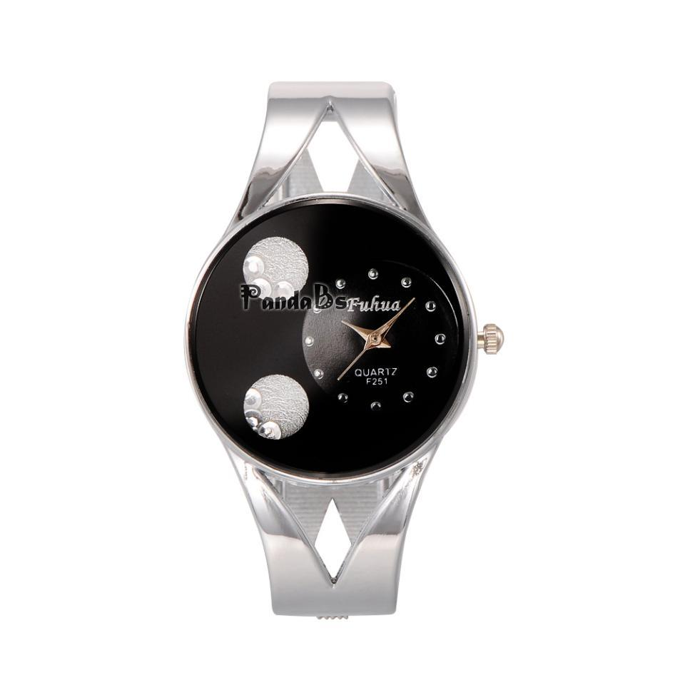 Noble Alloy Rhinestone Quartz Watch Cuff Bangles, Black, 41x54mm; Watch Head: 32x35x9mm; Watch Face: 30mm(China (Mainland))