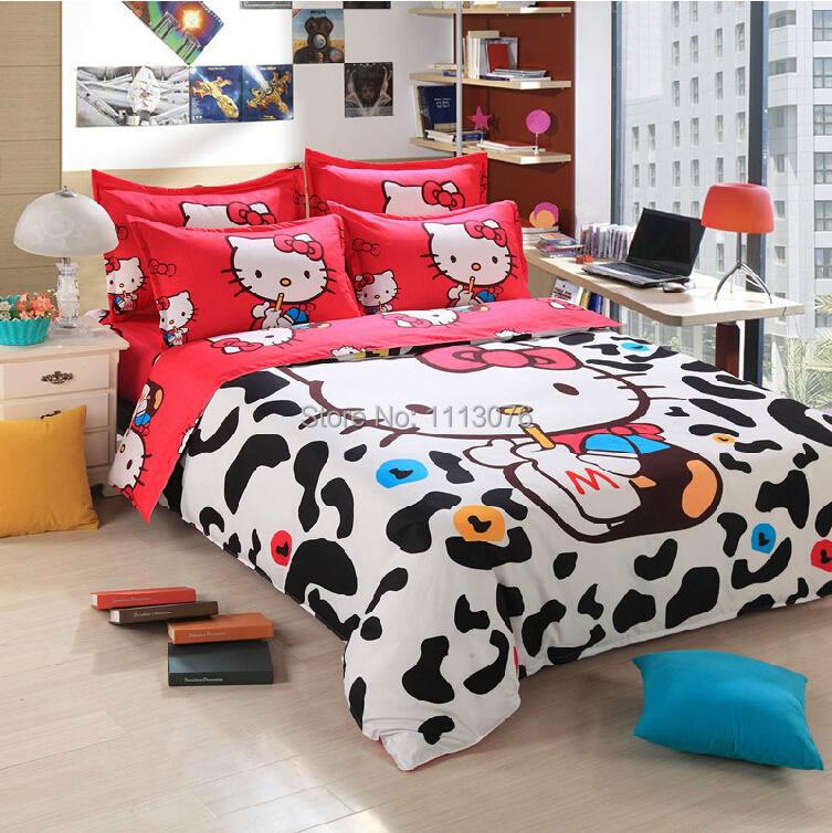Fashion Hot sale! Classic Hello Kitty Bedding Sets of Duvet Cover Bed Sheet Pillowcase, Queen Full Twin Size, Free shipping(China (Mainland))