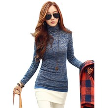 New Arrival Sweaters 2016 Slim Novelty Fashion High Neck Long Sleeve Pullovers Women Solid Black Blue Knitted Tops Plus Size(China (Mainland))