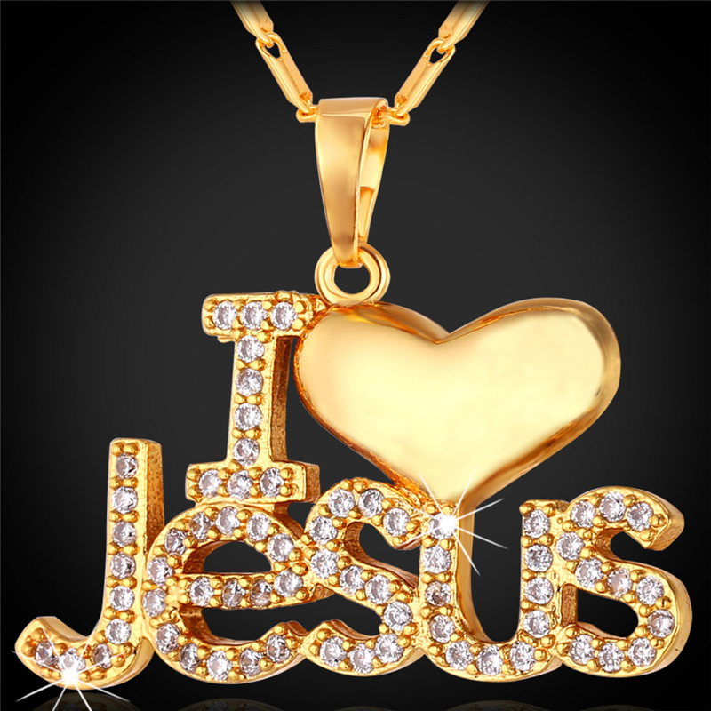 Jesus Piece Pendant Necklace Trendy Platinum/18K Gold Plated Chain Crystal Heart Necklace Women/Men Christian Jewelry P1128(China (Mainland))