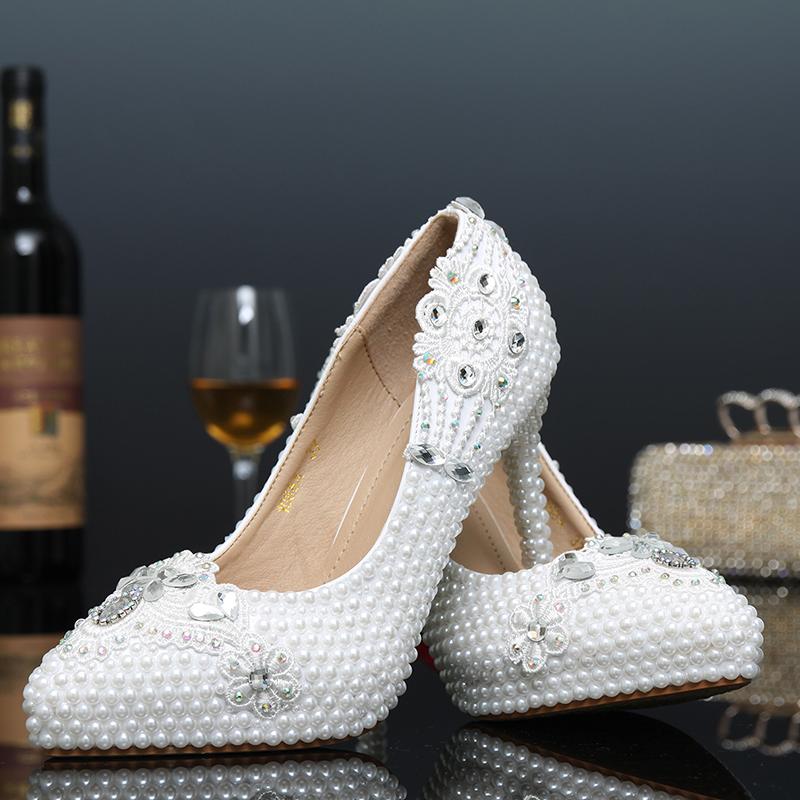 Фотография 2016 New Fashion Spring Zapatos Mujer Women Pumps Tine High Heels White Pearl Wedding Shoes for Bridal Crystal Diamond Hot Sale