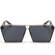 Square Cool sunglasses men women Flat Top Mirror Sun Glasses Lady Eyewear Full Metal Large Oversized Size instagram UV400(China (Mainland))