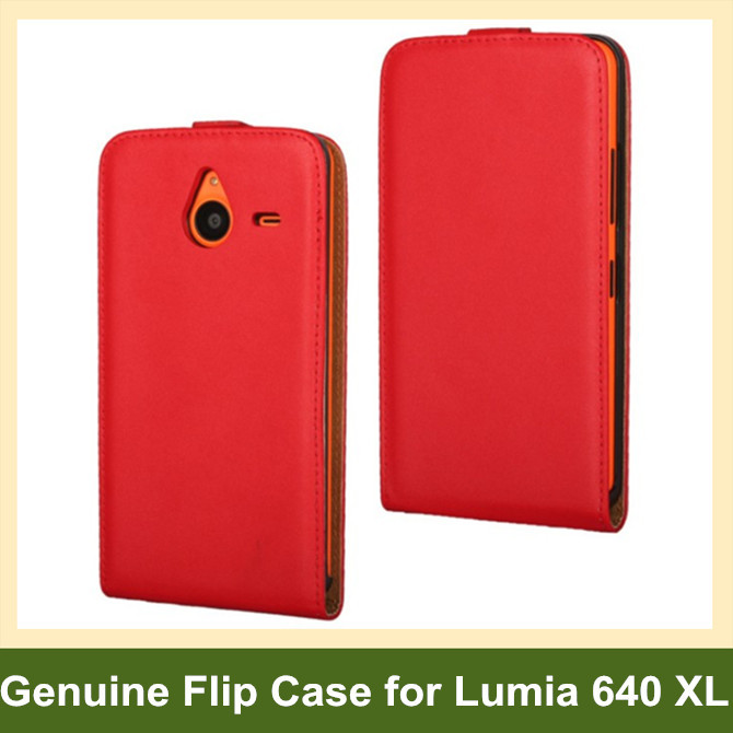 Elegant Genuine Leather Vertical Flip Cover Case for Microsoft Lumia 640 XL with Magnetic Snap 10pcs/lot Free Shipping
