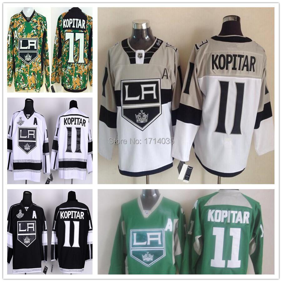 New 2015 Los Angeles Kings #11 Anze Kopitar Ice Hockey Jerseys Stitched Top quality Gray Mens Jersey Cheap Sport shirt Wholesale(China (Mainland))