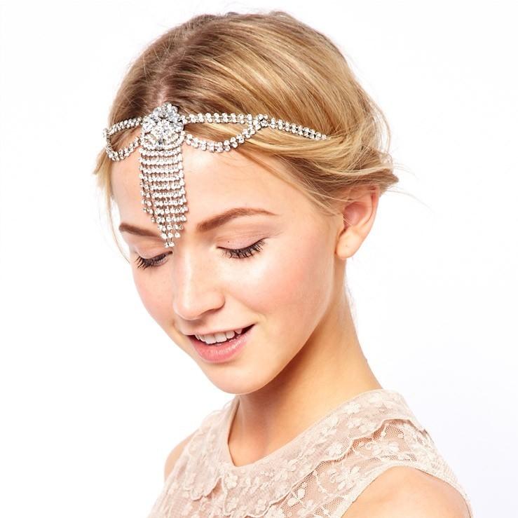 Bridal Hair Ornaments Crystal Rhinestone Tassel Elastic Head Piece Women Headband Headwear Indian Wedding Head Chain Accessories(China (Mainland))