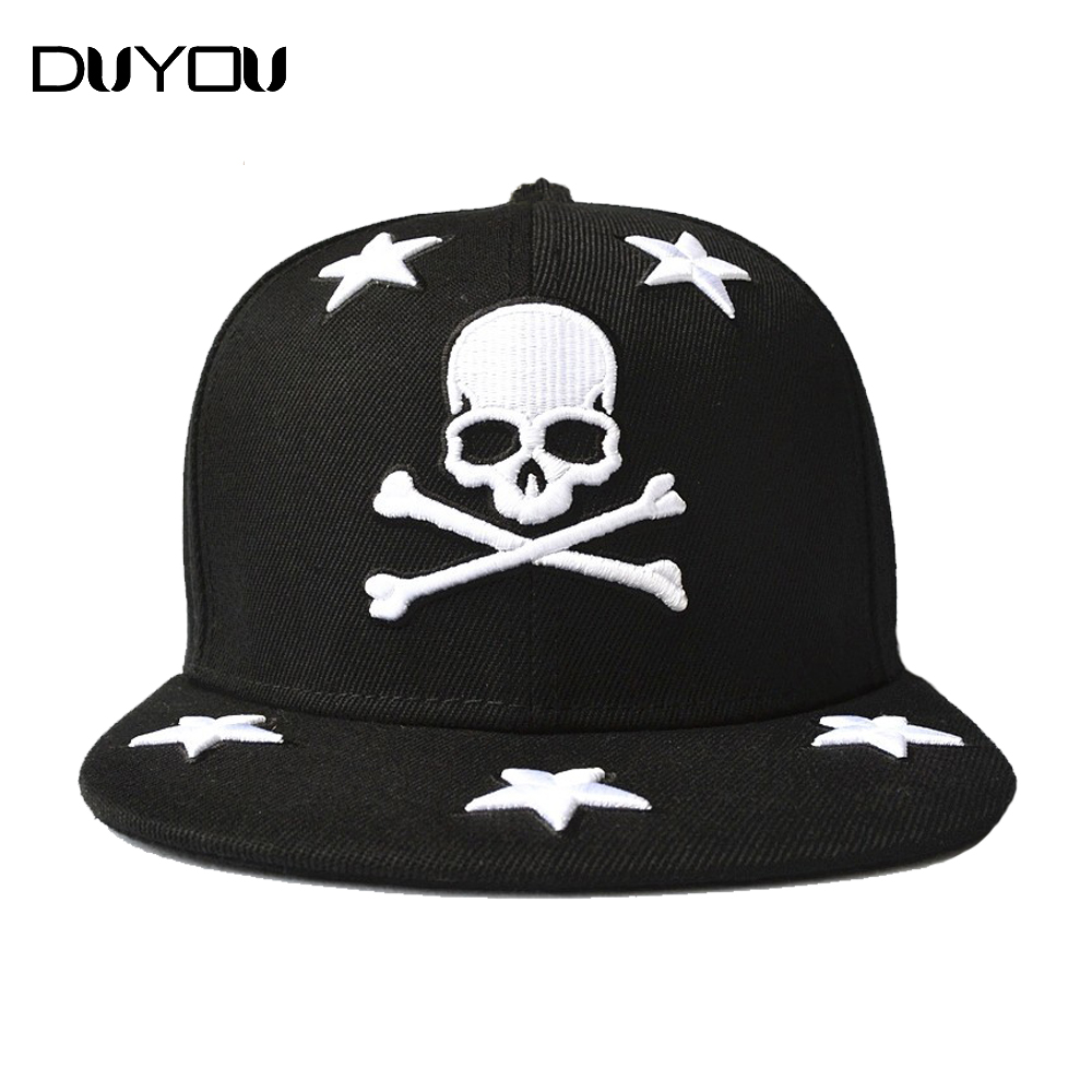 PP Bag Packaging! Rock Skull Syle Brand Cap Baseball Cap Fitted Hat Casual Cap Skull Embroidered Star Hip Hop Snapback Hats Cap(China (Mainland))