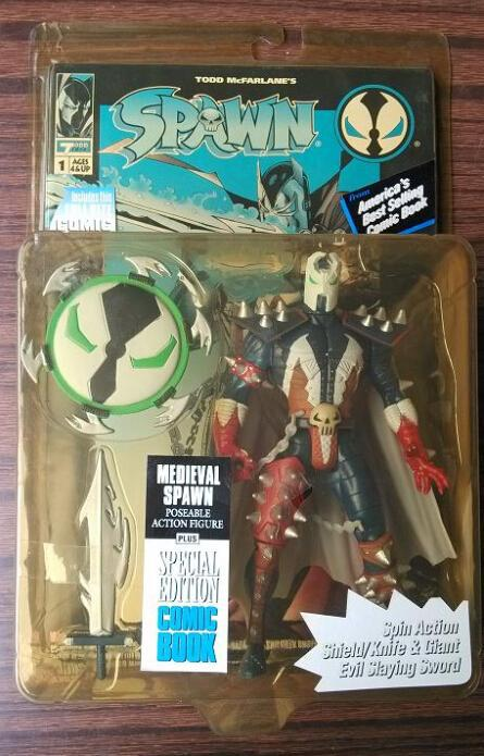White Cloak Spin Action Shield/Knife Spawn Anime action figure classic toys for boy in original box SP0072(China (Mainland))