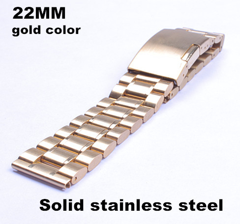 Wholesale 10PCS / lots High quality 22MM Solid stainless steel Watch strap metal watch bands (gold color) - 112102(China (Mainland))