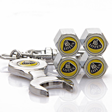 10Sets/Lot Wholesale Lotus Logo Stainless Steel Car Wheel Tire Valve Caps with Mini Wrench & Keychain(China (Mainland))
