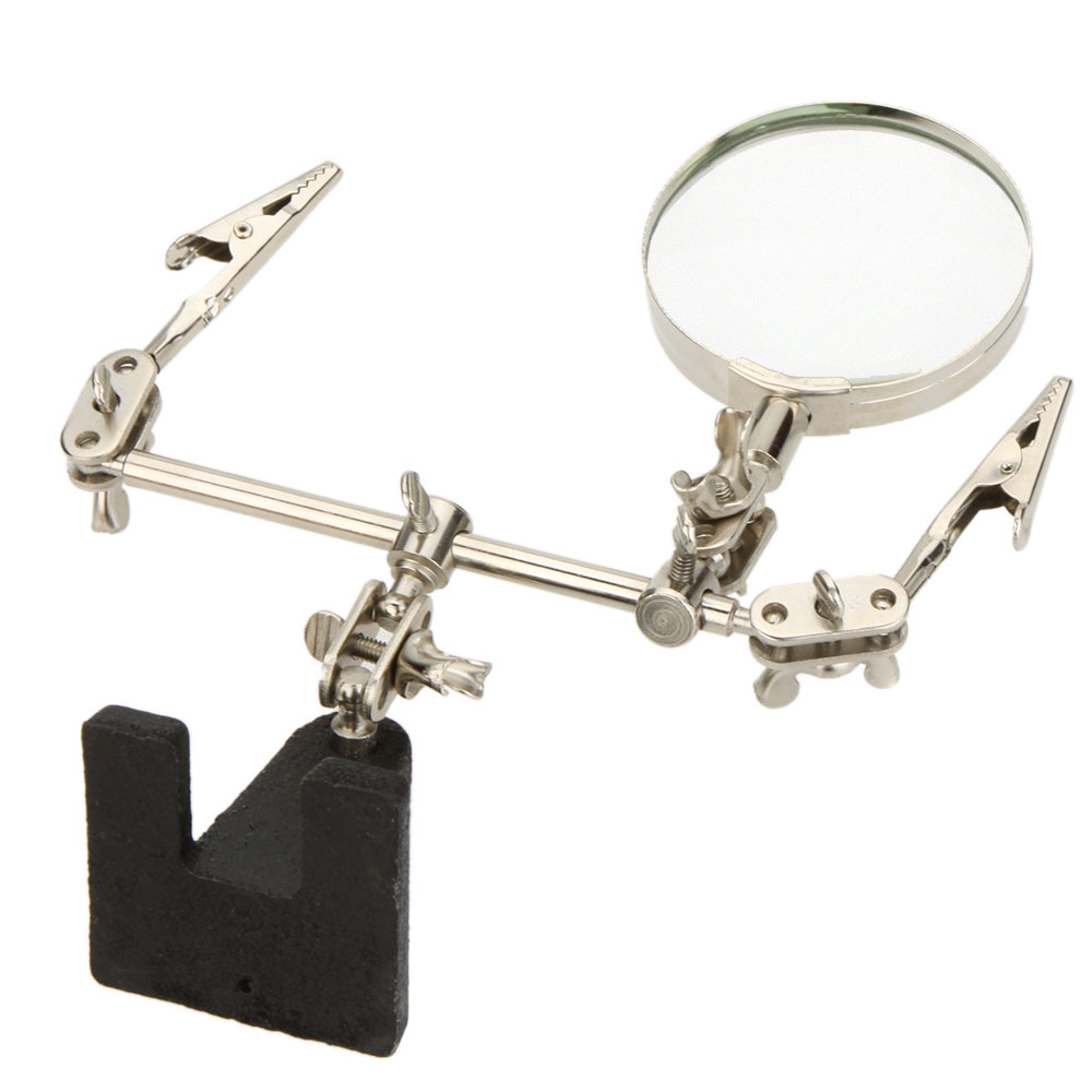 2.5X Helping Hand Free Glass Magnifier Magnifying 2 Alligator Clamps Adjustable Arms for Craft Model Precision Tools Watch(China (Mainland))