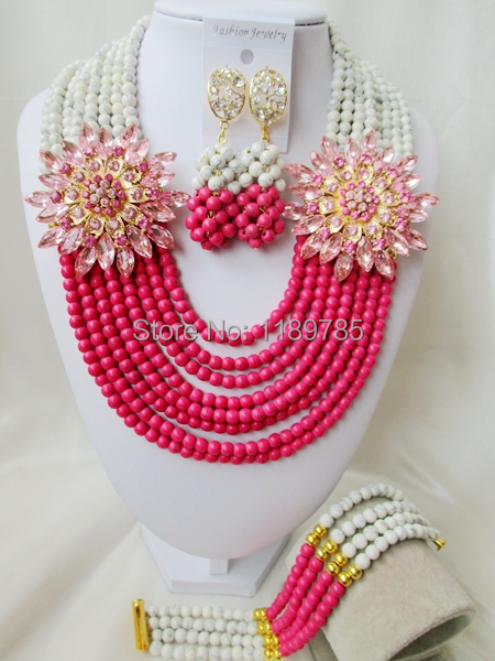 Fashion Nigerian African Wedding Beads Jewelry Set , Stone Necklace Bracelet Earrings Set A-8523<br><br>Aliexpress